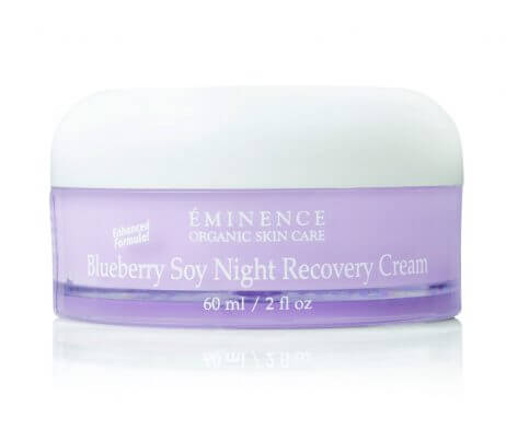 The Eminence Blueberry Soy Night Recovery Cream repairs the appearance of aging skin and returns firmness